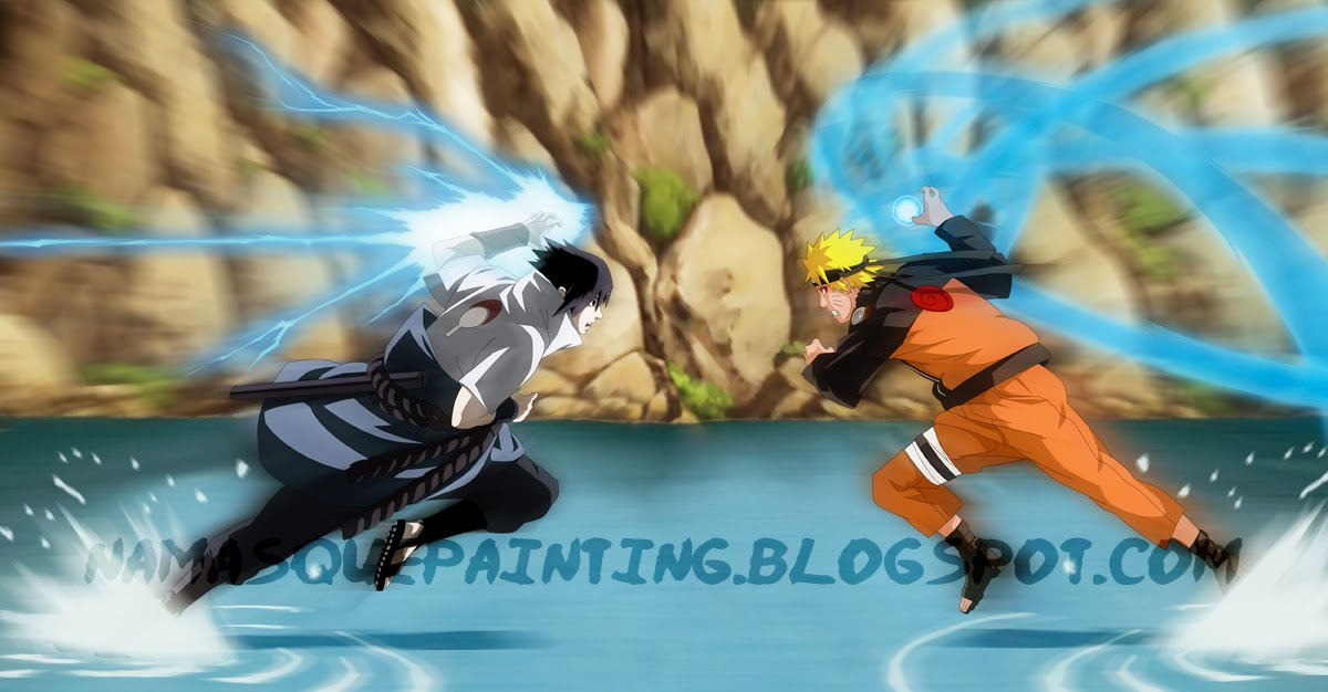 how to draw naruto vs sasuke rasengan vs chidori